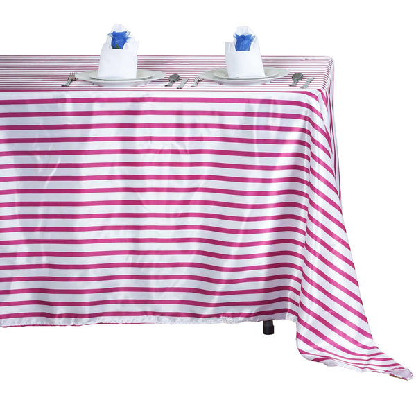 "60x102"" White/Fushia Striped Satin Tablecloth"