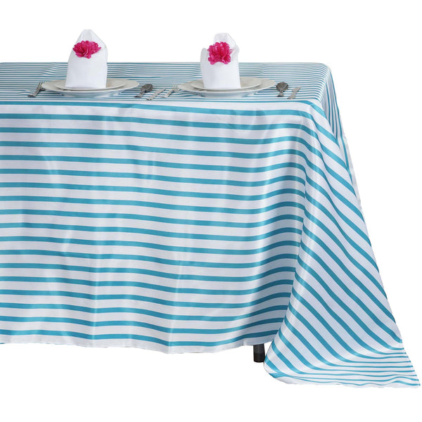 "60x102"" White/Turquoise Striped Satin Tablecloth"