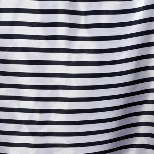 "60x126"" WHITE / BLACK Striped Wholesale SATIN Banquet Linen Wedding Party Restaurant Tablecloth"