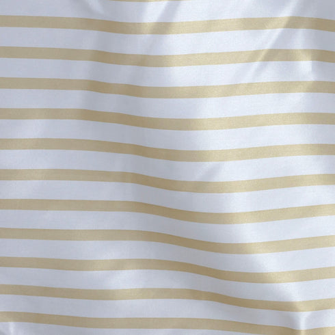 "60x126"" Striped Satin Tablecloth - White/CHAMPANGE"