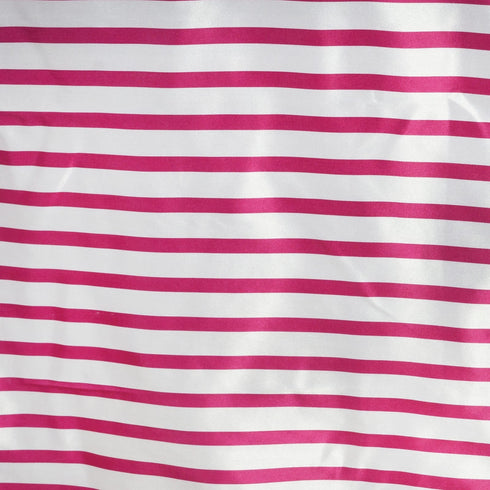 "60x126"" Striped Satin Tablecloth - White/Fushia"