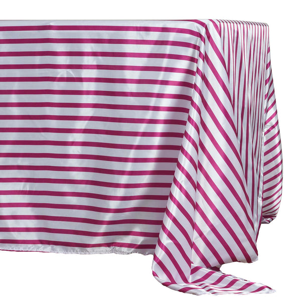 "60x126"" White/Fushia Striped Satin Tablecloth"