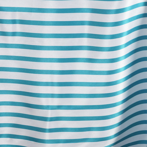 "60x126"" Striped Satin Tablecloth - White/Turquoise"