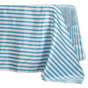 60 inch x126 inch White/Turquoise Striped Satin Tablecloth