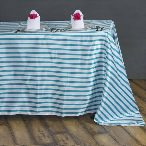 "60""x126"" White/Turquoise Striped Satin Tablecloth"