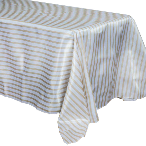 "90""x132"" White/Champagne Stripe Satin Tablecloth"