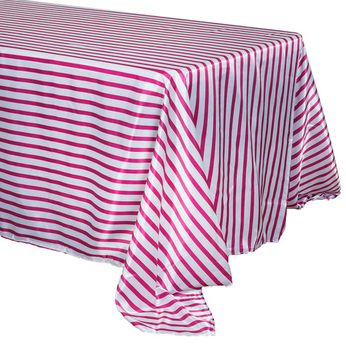 "90x132"" Stripe Satin Tablecloth - White/Fushia"
