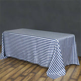 "90x132"" Stripe Wholesale SATIN Banquet Linen Wedding Party Restaurant Tablecloth - White/Navy"