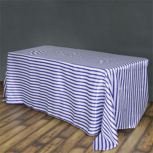 "90x132"" Stripe Wholesale SATIN Banquet Linen Wedding Party Restaurant Tablecloth - White/Purple"