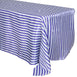 "90x132"" Stripe Satin Tablecloth - White/Purple"