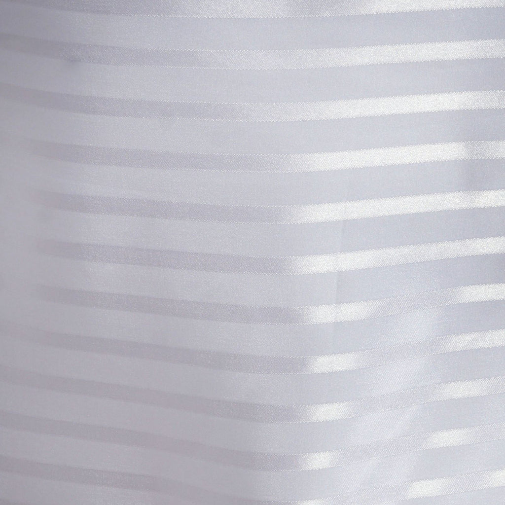 "90x132"" Stripe Wholesale SATIN Banquet Linen Wedding Party Restaurant Tablecloth - White/Silver"
