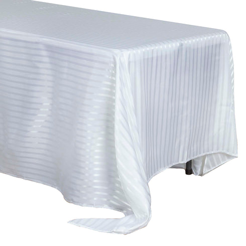 "90x132"" Stripe Satin Tablecloth - White/Silver"