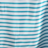 "90x132"" Stripe Wholesale SATIN Banquet Linen Wedding Party Restaurant Tablecloth - White/Turquoise"