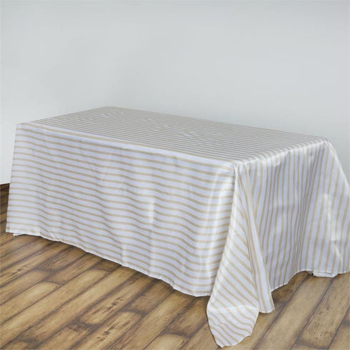 "90x156"" Stripe Wholesale SATIN Banquet Linen Wedding Party Restaurant Tablecloth - White/Champagne"