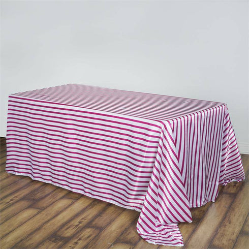 "90x156"" White/Fushia Stripe Satin Rectangle Tablecloth 