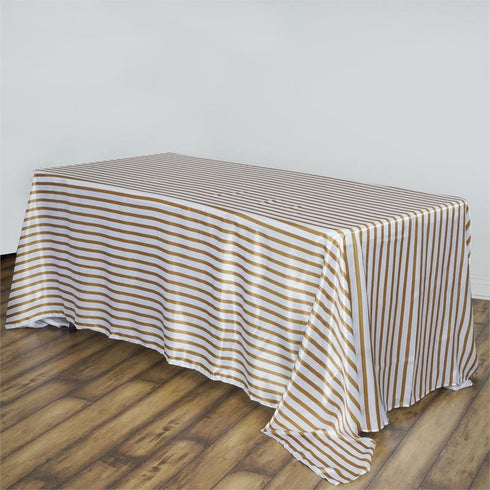 "90x156"" Stripe Wholesale SATIN Banquet Linen Wedding Party Restaurant Tablecloth - White/Gold"