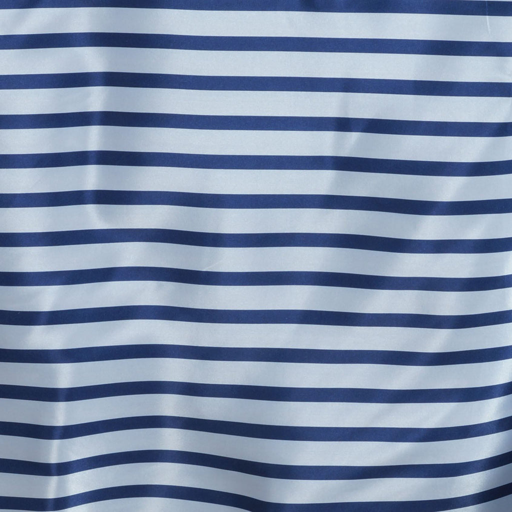 "90x156"" Stripe Wholesale SATIN Banquet Linen Wedding Party Restaurant Tablecloth - White/Navy"