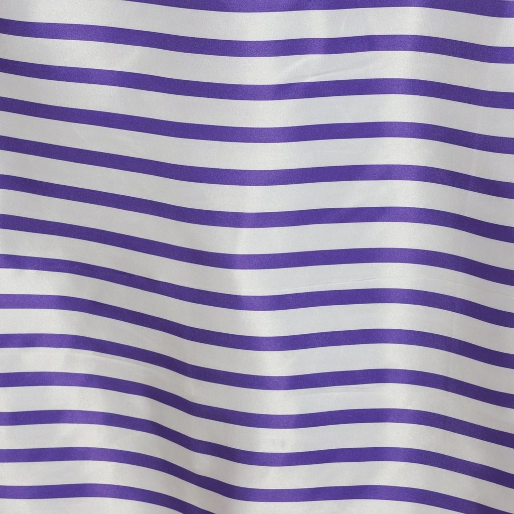 "90x156"" Stripe Wholesale SATIN Banquet Linen Wedding Party Restaurant Tablecloth - White/Purple"