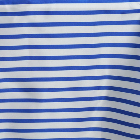 "90x156"" White/Royal Blue Stripe Satin Tablecloth"