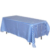 "90x156"" Stripe Satin Tablecloth - White/Royal Blue"