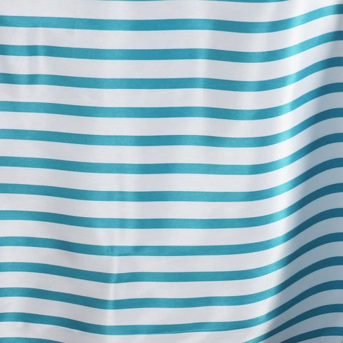 "90x156"" Stripe Wholesale SATIN Banquet Linen Wedding Party Restaurant Tablecloth - White/Turquoise"