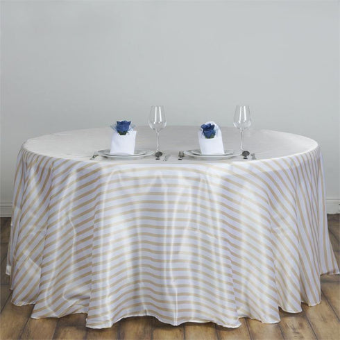"90"" Satin Stripe Round Tablecloth - White/Champagne"