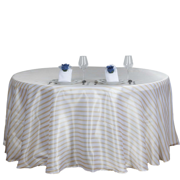 "90"" White/Champagne Satin Stripe Round Tablecloth"