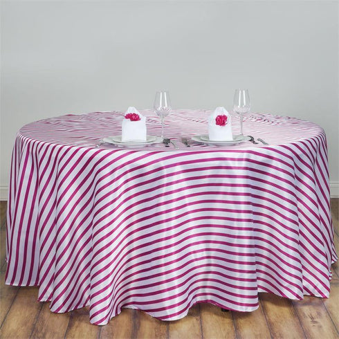 "90"" Satin Stripe Round Tablecloth - White/Fushia"