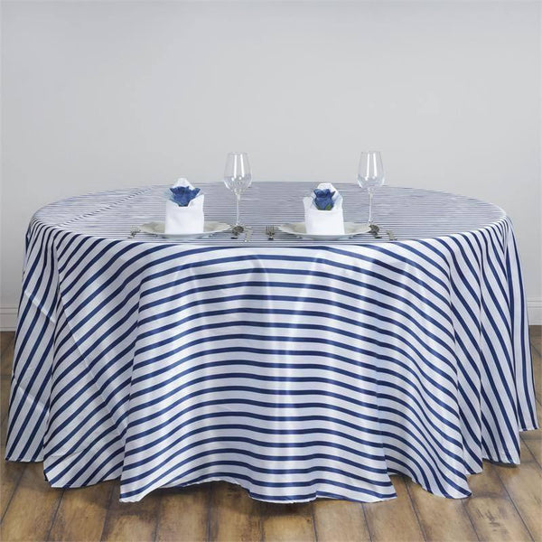 "90"" White/Navy Blue Wholesale Satin Stripe Round ..."