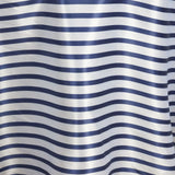 "90"" Stripe Wholesale SATIN Banquet Linen Wedding Party Restaurant Tablecloth - White/Navy Blue"