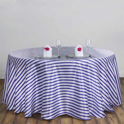 "90"" Satin Stripe Round Tablecloth - White/Purple"