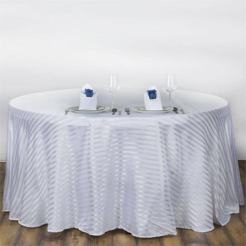 "90"" Satin Stripe Round Tablecloth - White/Silver"