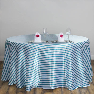 "90"" Stripe Wholesale SATIN Banquet Linen Wedding Party Restaurant Tablecloth - White/Turquoise"