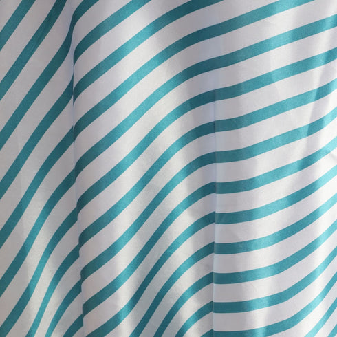 "90"" Satin Stripe Round Tablecloth - White/Turquoise"