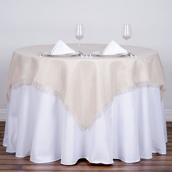 Frilly Fringed Faux Burlap Square Tablecloth 54 Quot X 54