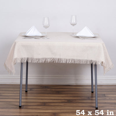 "54""x54"" Natural Fringed Faux Burlap Square Tablecloth Overlay"