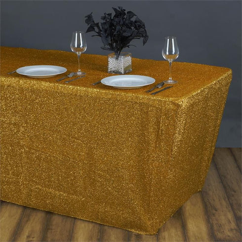 MY DREAMY 6 Ft Rectangular Spandex Table Cover - Gold