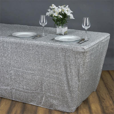 MY DREAMY 6 Ft Rectangular Spandex Table Cover - Silver