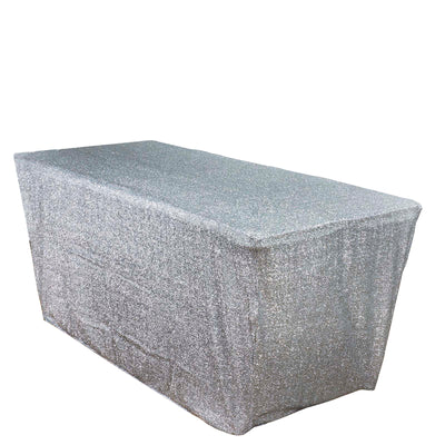 6 Ft Rectangular Metallic Spandex Table Cover - Silver