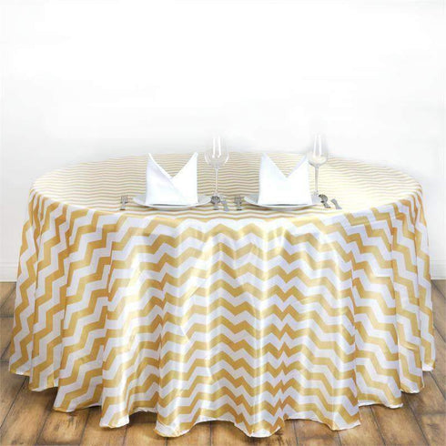 Chevron Satin Round Tablecloth | Champagne | Table Linens | 120""