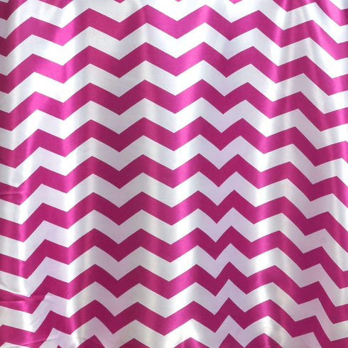 Chevron Satin Round Tablecloth | Fushia | Table Linens | 120""