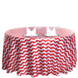 "120"" Chevron Satin Round Tablecloth - Red"