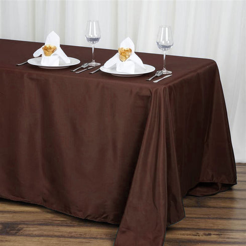 "50x120"" Chocolate Polyester Rectangular Tablecloth"
