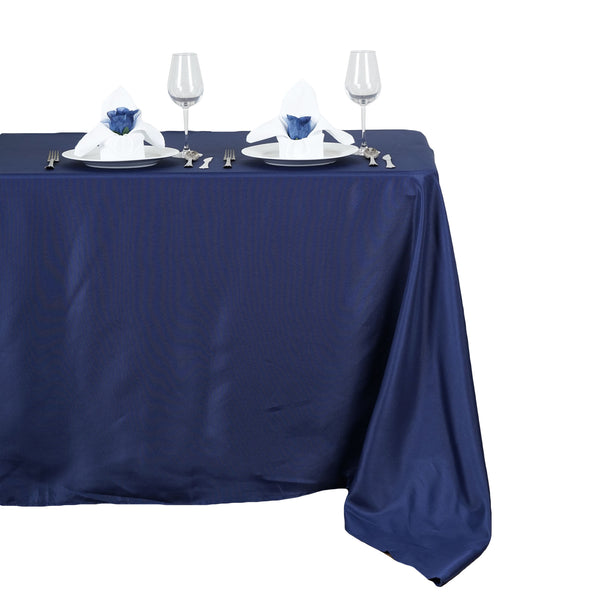 "50""x120"" Navy Blue Polyester Rectangular Tablecloth"