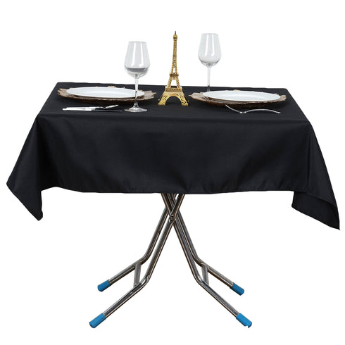 "54""x54"" Black 220 GSM Seamless Premium Polyester Square Tablecloth"