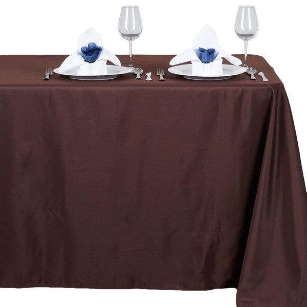 "54""x96"" Chocolate Polyester Rectangular Tablecloth"