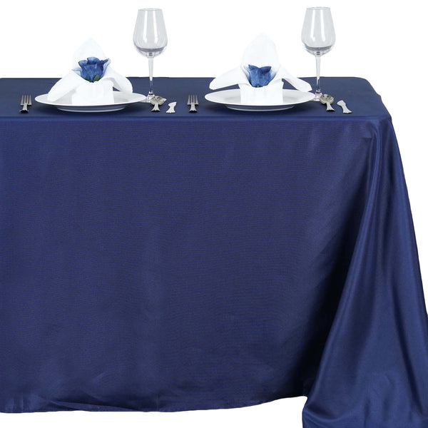 "54""x96"" Navy Blue Polyester Rectangular Tablecloth"