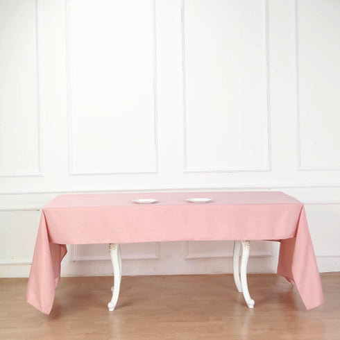"60""x102"" Dusty Rose Polyester Rectangular Tablecloth"