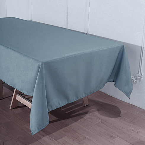 "60""x102"" Dusty Blue Polyester Rectangular Tablecloth"
