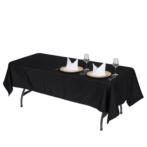 "60x102"" Black 220 GSM Seamless Premium Polyester Rectangular Tablecloth"